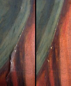 Consolidatie opstaande verf (voor en na behandeling)