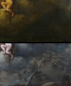 Verwijderen overschildering (voor en na restauratie)