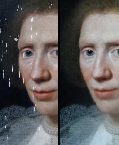 Retouches kleine lacunes (voor en na restauratie)