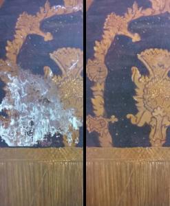Retouche-reconstructie bij groot verfverlies (voor en na restauratie)