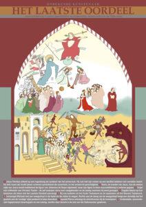 Informatieposter en lijntekening middeleeuwse muurschildering Jacobskerk te Winterswijk
