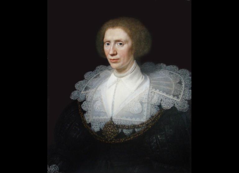 """Michel Jansz. van Mierevelt, """"Portret van Magdalena van Valckestein"""", 1628, Olieverf op paneel, 69,9 X 58,5 cm, Stichting Kasteel Amerongen"""