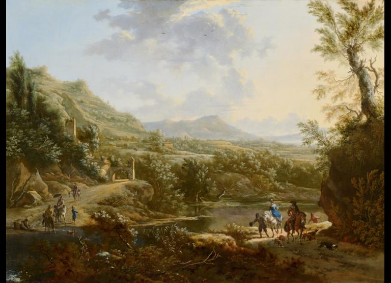 """Frederik de Moucheron, """"Italiaans landschap"""", na 1670, Olieverf op doek, 94 X 125 cm, Mauritshuis, Den Haag"""