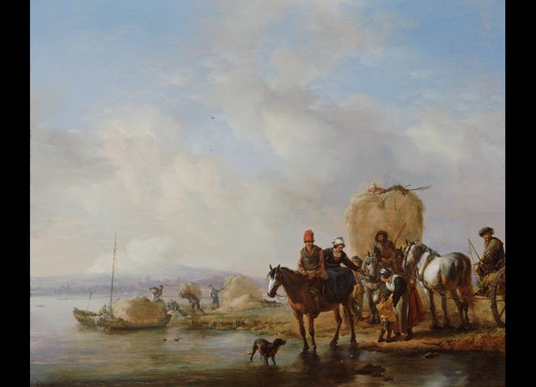 """Philips Wouwerman, """"Hooiwagen"""", ca 1650, Olieverf op paneel, 40 X 48 cm, Mauritshuis, Den Haag"""